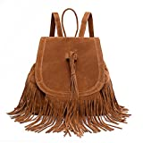 Sunwel Fashion Bag Shoulder Tassel Drawstring PU Leather Bag Casual Traveling Women Outdoor Shopper Beach School Bookbag