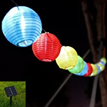 ZmKm Waterproof Solar String Lights Outdoor 19.68ft 6m 30 LED 2 Modes RGB Lantern Solar String Lights for Outdoor, Gardens, Homes, Wedding, Christmas Party