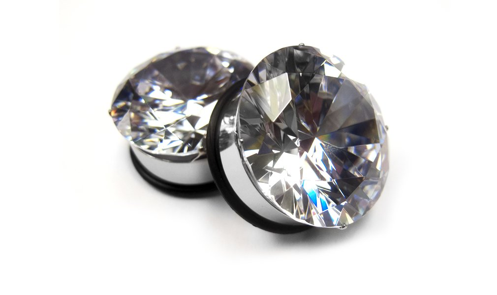 Pair of 1 Inch (25mm) Bling Bling CZ Diamond Steel Tunnel Plugs (2 Pieces)