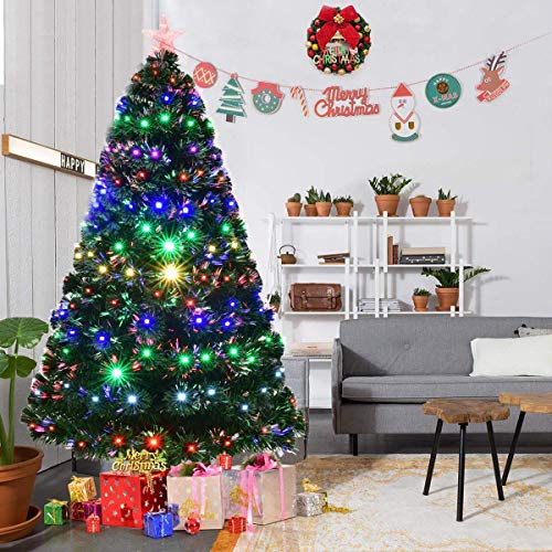 Goplus Artificial Christmas Tree Pre-Lit Optical Fiber Tree 8 Flash Modes W/UL Certified Multicolored LED Lights & Metal Stand (7 FT) by Goplus (Image #2)