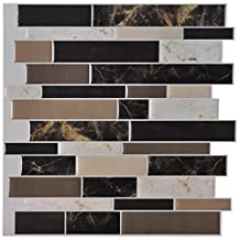 "Art3d 6-Pack Peel and Stick Vinyl Sticker Kitchen Backsplash Tiles, 12"" x 12"" Marble Design"