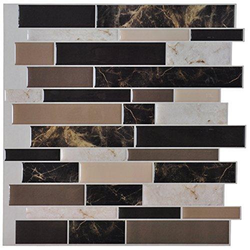 Art3d 6-Pack Peel and Stick Vinyl Sticker Kitchen Backsplash Tiles, 12