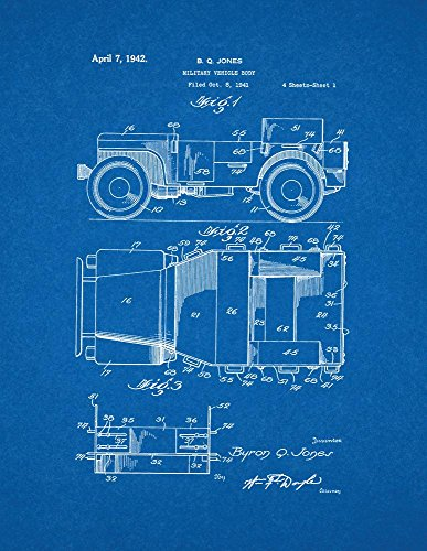 Military Vehicle Body Patent Print Art Poster Blueprint