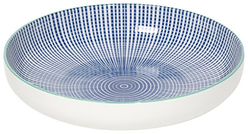 (Now Designs Stamped Shallow Porcelain Bowls, Set of Four, Dotted Lines )