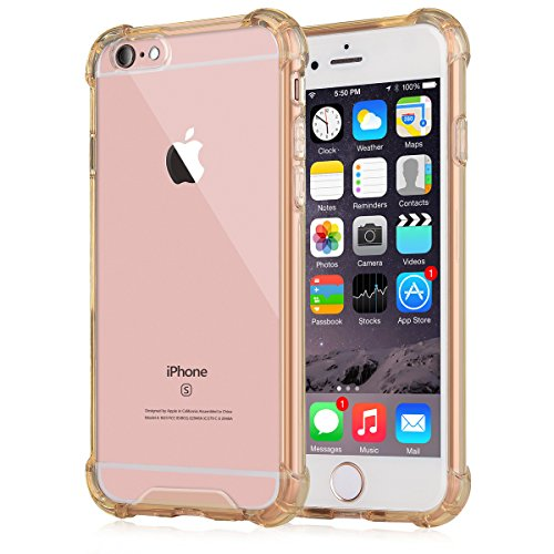 New Crystal Plastic Cover Case ([Crystal Clear] iPhone 6 / 6s Case, iXCC NewCover Case [Shock Absorption] with Transparent Hard Plastic Back Plate and Soft TPU Gel Bumper - Gold)