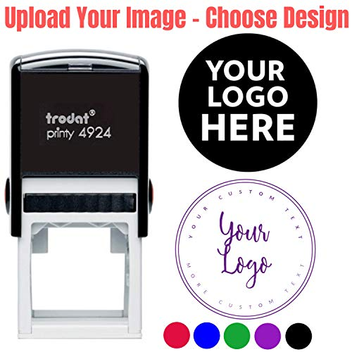 - 10 Designs to Choose!! Custom Logo Double Round Border Stamp - 3 Lines of Text - Personalized Self Inking Custom Business Stamp Your Logo Black Blue Red Green Ink Stamper - Size 1 5/8 x 1 5/8.