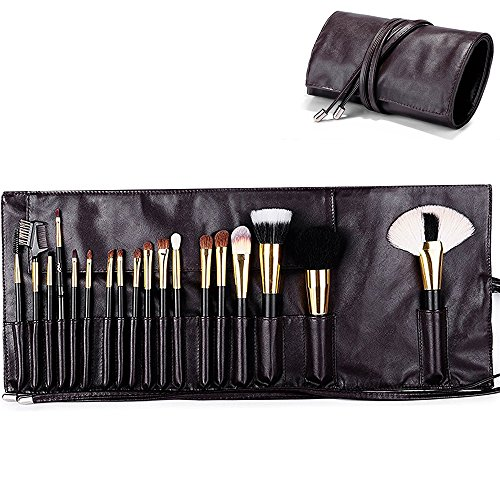 MLMSY Makeup Brush Rolling Pouch Brushes Holder Cosmetic Bag Organizer Travel Portable 18 Pockets Cosmetics Brushes Leather Case (coffee)