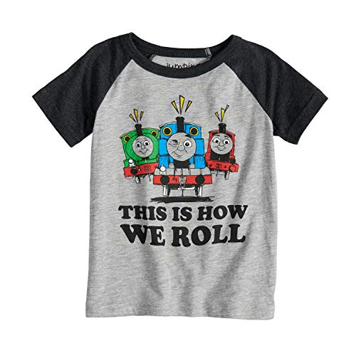 Jumping Beans Toddler Boys 2T-5T Thomas & Friends This is How We Roll Percy, Thomas & James Raglan Tee 5T Heather Gray