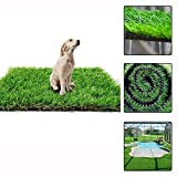 AGOOL Artificial Grass Rug Synthetic Turf Fake Carpet Mat Easy Care Rubber Backed with Drainage Holes Lawn Area Pet Pad Mat Garden Doormat for Outdoor Decoration (16 x 32 inch)