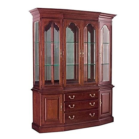 Antique China Hutch >> Amazon Com Beaumont Lane China Cabinet In Antique Cherry China