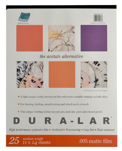 Grafix P05DM1114 Matte .005 Dura-Lar Film, 11-Inch by 14-Inch, 25 Sheets ()