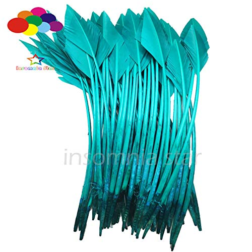 Maslin 50 Pcs Arrow Lake Green Turkey Feathers 25-30 CM/10-12 INCH Beautiful for Jewelry Carnival Decorative DIY Costume Mask Headdress - (Color: Lake Green) -
