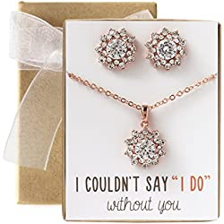 AMY O Wedding Jewelry Set, Bridesmaid Gift, Necklace & Earrings Set in Gold, Silver or Rose Gold