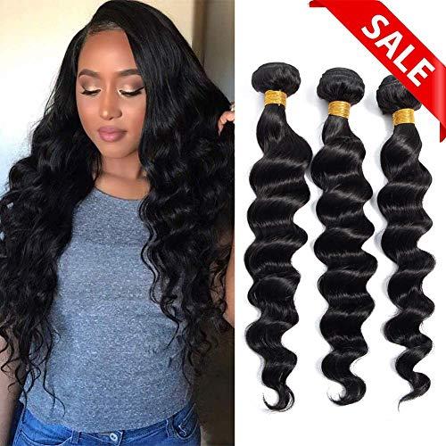 Brazilian Virgin Hair Loose Wave Bundles 8A 100% Unprocessed Remy Brazilian Human Hair weave Natural Black Color(10 12 14) ()