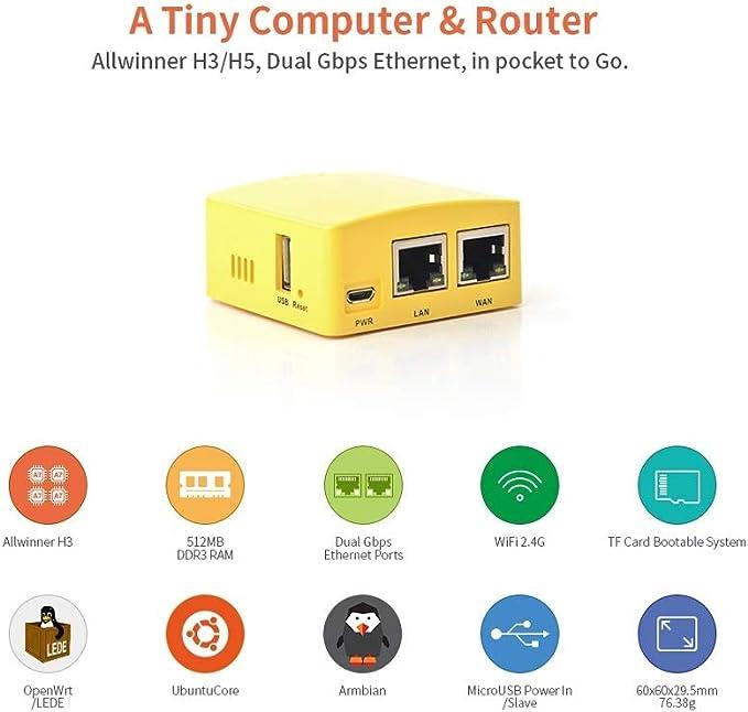 Nanopi R1S Router portátil DIY OpenWRT Allwinner H3, Quad-core de 64 bits de alto rendimiento Cortex A53 Dual Gigabit Ethernet LEDE placa de ...
