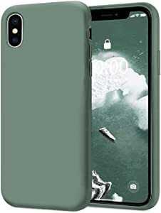 KUMEEK iPhone Xs Max Case, Soft Silicone Gel Rubber Bumper Case Anti-Scratch Microfiber Lining Hard Shell Shockproof Full-Body Protective Case Cover for iPhone Xs Max-Pine Green