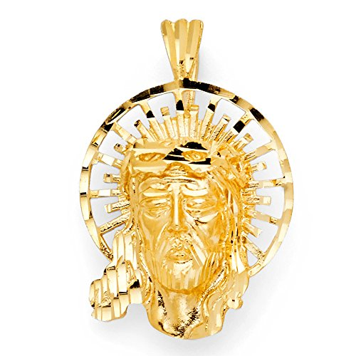 Ioka - 14K Yellow Gold Religious Jesus Christ Head Charm Pendant For Necklace or Chain