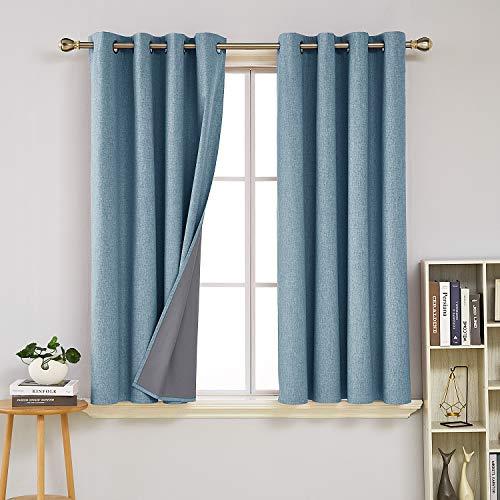 Deconovo Total Blackout Curtains Pair 63 inch Length Energy