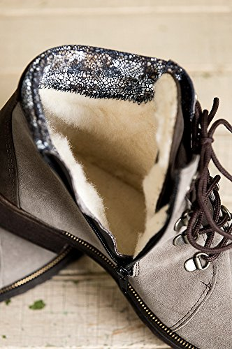 Overland Sheepskin Co Womens Caline Wool-Lined Waterproof Italian Suede Ankle Boots S6SeUS