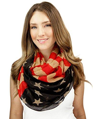 Women's Patriotic American Scarves USA Flag Loop Circle Infinity ()