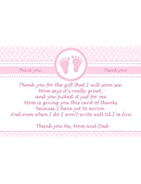 30 Thank You Cards Pink Polka Dots Baby Girl Shower Photo Paper BOBEBE Online Baby Store From New York to Miami and Los Angeles