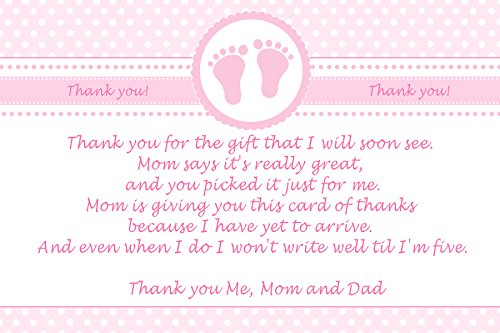30 Thank You Cards Pink Polka Dots Baby Girl Shower Photo Paper