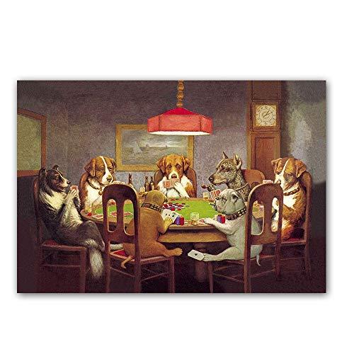 FFYYJJLEI Homlif Square/Round 5D Diamond Embroidered Resin Diamond Cross Stitch Animal Dog Playing Card Picture Diamond Painting Home,60x80cm ()