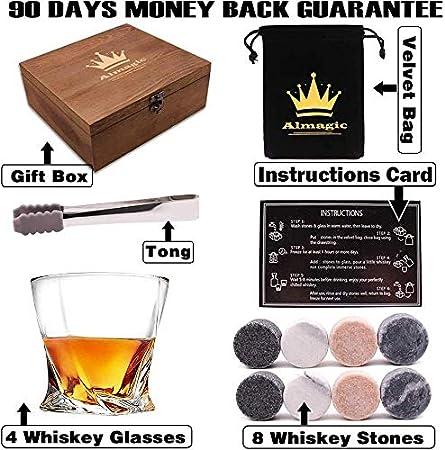 Almagic Juego de 4 vasos de whisky de cristal libre de 10 oz para whisky escocés o bourbon, caja de regalo con 8 piedras redondas grandes de whisky, tong, bolsa de terciopelo