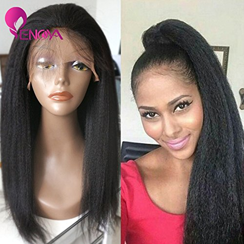 Natural Looking Italian Yaki Lace Front Wigs/ Silk Top Lace Front Wigs Best Brazilian Remy Human Hair Wigs with Baby Hair for African Americans 130 Density (16'' Silk Top Lace Front Wig) by Enoya
