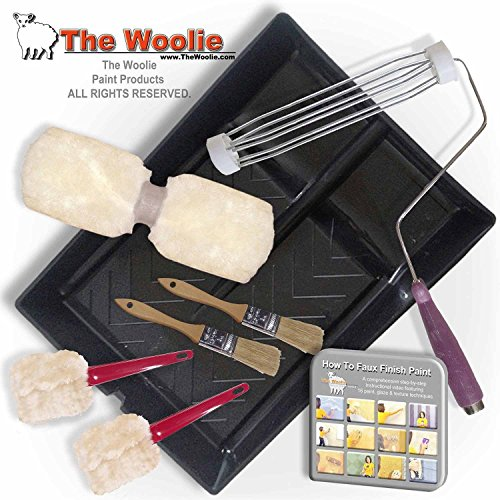 The Woolie Dual 2-Color Split Roller Starter Kit - Faux Finish Sheepskin Painting Roller Set (Roller Sheepskin)