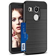 Nexus 5X Case,Cheeringary [Only Fit One Card] Credit Card Wallet Cash Slot ID Holder Cover Soft TPU body Shockproof and Hard Tough Bumper Anti-scratch Protection for LG Google Nexus 5X (2015)-Black