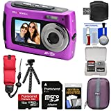 Bell & Howell 2VIEW18 HD Dual Screen Waterproof Digital Camera (Purple) with 16GB Card + Case + Floating Strap + Flex Tripod + Reader + Kit