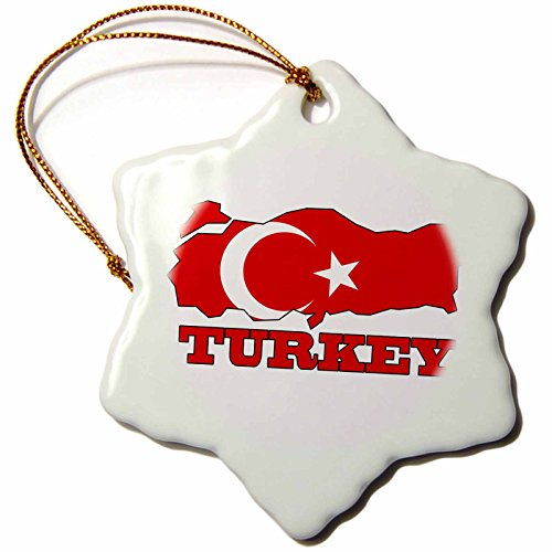 (3dRose orn_63212_1 The Flag of Turkey in The Outline Map and Name of The Country Turkey Snowflake Decorative Hanging Ornament, Porcelain, 3-Inch)