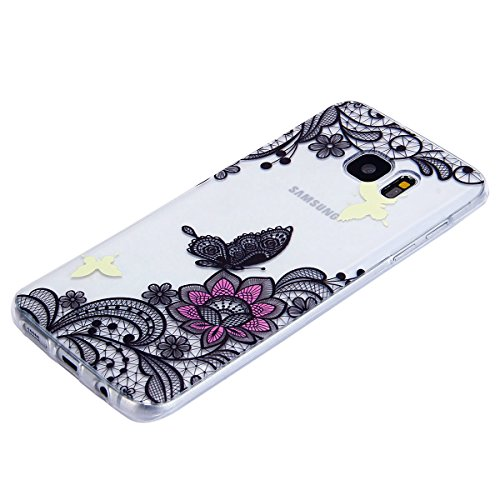 Funda Samsung Galaxy S7 edge,SainCat Moda Alta Calidad suave de TPU Silicona Suave Funda Carcasa Caso Parachoques Diseño pintado Patrón para CarcasasTPU Silicona Flexible Candy Colors Ultra Delgado Li Mariposa de encaje