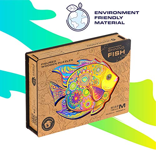 UNIDRAGON Wooden Puzzle Jigsaw, Best Gift for Adults and Kids, Unique Shape Jigsaw Pieces Shining Fish, 12.6 x 9.6 in…