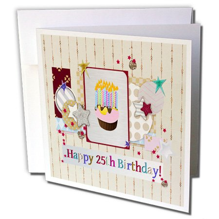 3dRose Collage Of Stars, Cupcake, and Candle, Happy 25Th Birthday - Greeting Card, 6