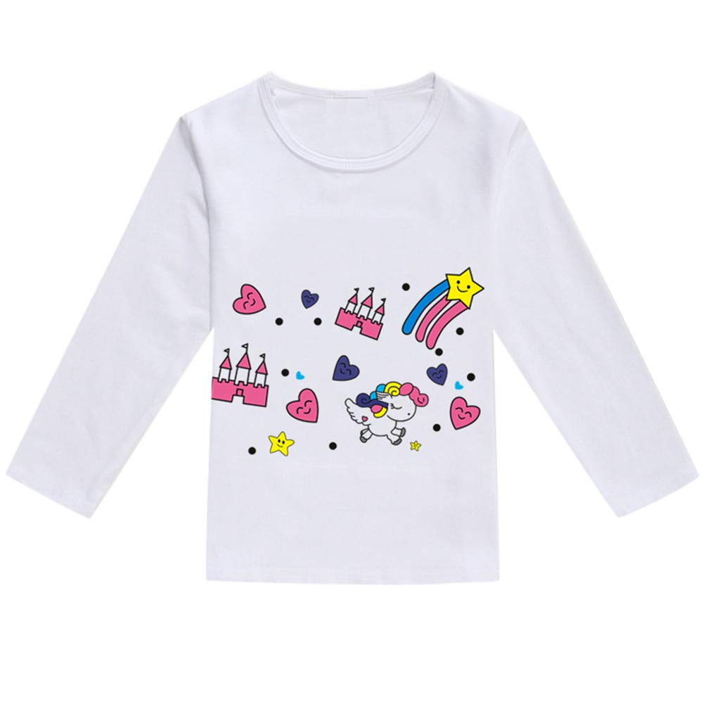 NUWFOR Toddler Baby Kids Boys Girls Spring Cartoon Print Tops T-Shirt Casual Clothes(Hot Pink,18-24 Months)