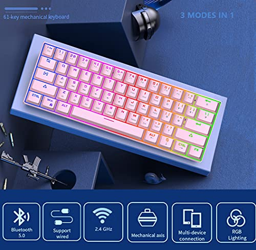 60% Mechanical Keyboard 2.4G Wireless/Bluetooth/Wired RGB Mechanical Keyboard,61 Keys 3 Modes Connectable Hot-Swappable Gaming Keyboard with Double-Shot Keycaps for Gaming/Win/Mac(Blue Switch, Pink)