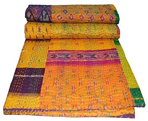 - Yuvancrafts Indian Handmade Silk Patola Patchwork Kantha Quilt Traditional Silk Multi Color Kantha Throw Blanket Bedspread Coverlet (Twin Size)