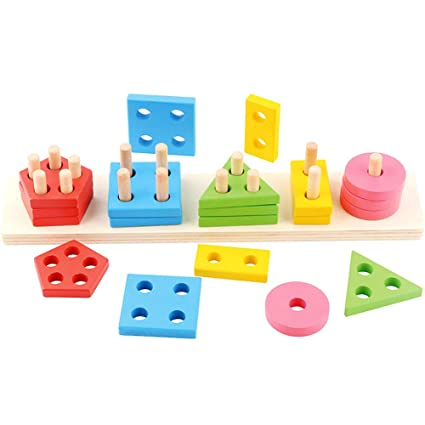 Amazon.com: Juguete de madera con forma educativa para niños ...
