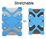 8.9-12 inch Tablet Back Case, Dteck(TM) Universal Silicone Case Multi-Angle Portable Stand [Corner Protector] Rugged Body Back Cover with Bracket for All 8.9-12 inch Apple Samsung Tablets (01 Blue)