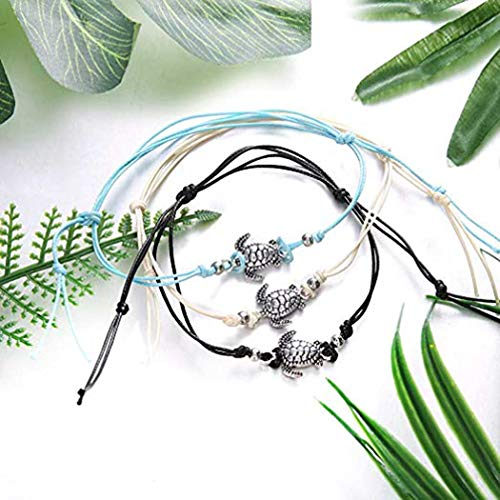 Simsly Anklet Bracelet with Turtle Beaded Hemp Ankle Chain for Women and Teen Girls JL-0174