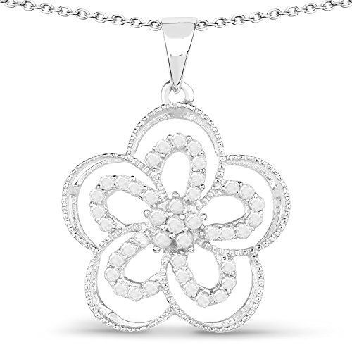 0.42 Carats Genuine White Diamond (I-J, I2-I3) Flower Pendant Solid .925 Sterling Silver With Rhodium Plating, 18Inch Chain (White Flower Pendant Rhodium)
