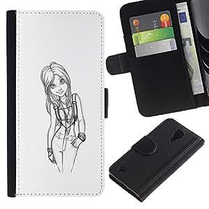 Planetar® Modelo colorido cuero carpeta tirón caso cubierta piel Holster Funda protección Samsung Galaxy S4 IV I9500 ( Girl Doctor Sketch Black White Sexy )