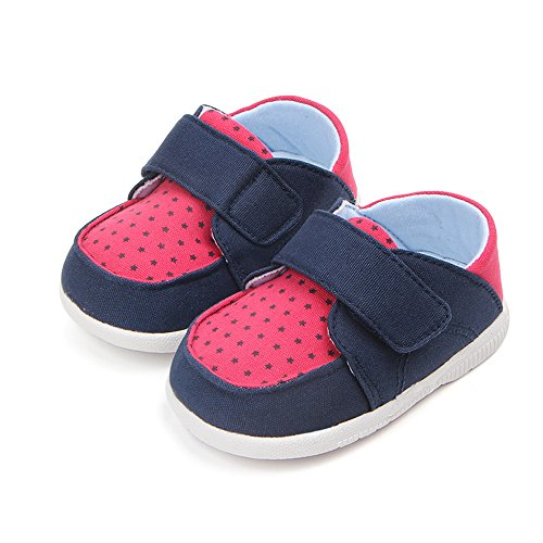 Kuner Baby Boys Girls Cotton Rubber Sloe Outdoor Sneaker First Walkers Shoes (12.5cm(6-12months), Blue+Rose) by Kuner (Image #3)