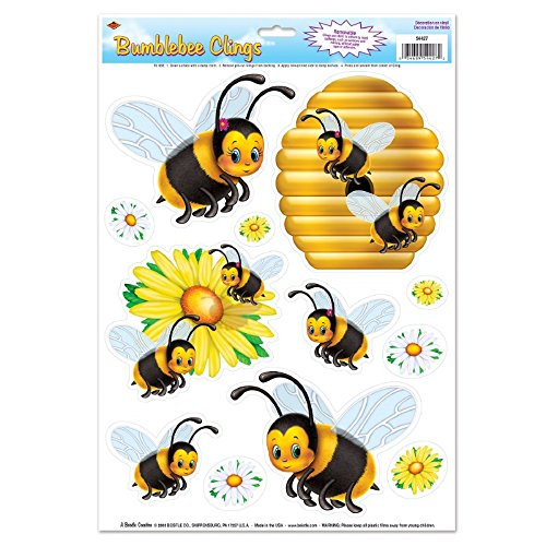 (Club Pack of 144 Black and Yellow Springtime Bumblebee Window Cling Decorations)