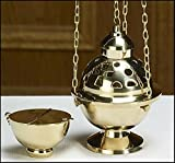 Stratford Chapel Polished Brass Hanging Censer and Boat Set, 7 1/2 Inches