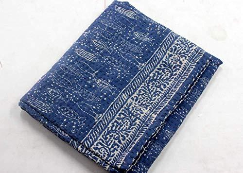 2ef76e64b31f Worldoftextile Kantha Stitched Bed Cover/Blanket fish print Natural Blue  Indigo Hand Block Print Indian Cotton Kantha Quilt,Handmade