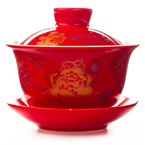 Funnytoday365 80Ml Wedding Porcelain Tea Sets Tea Bowl Tureen Sancai Bowl Kung Fu Teaset Gaiwan Teacup King Cup For Happy Event ()