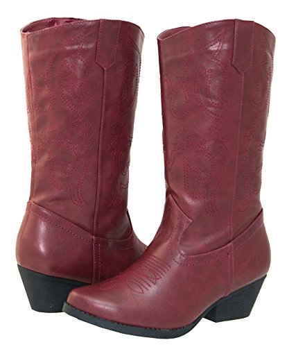 (Shoes 18 Womens Faux Leather Western Cowboy Boots W/Traditional Embroidery (9, Burgundy 6314)